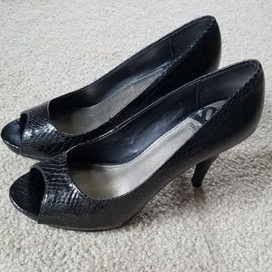 Black Fergalicious Peep Toe High Heels